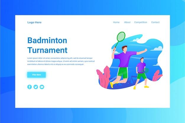 Página de destino do conceito de ilustração do turnming de badminton de cabeçalho de página da web