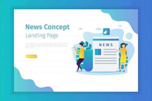 Página de destino do conceito de notícias para o site