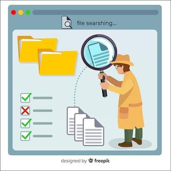 Página de destino do conceito de pesquisa de arquivos