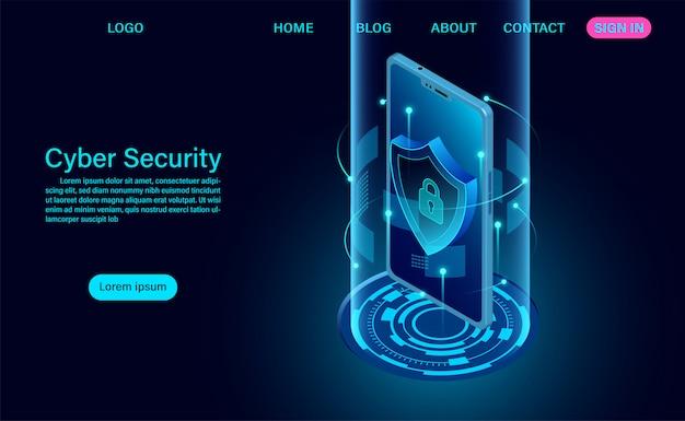 Página de destino do conceito de segurança cibernética