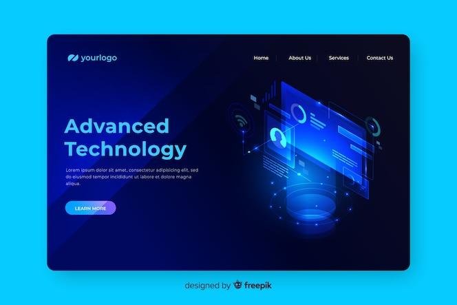 Página de destino do conceito de tecnologia avançada