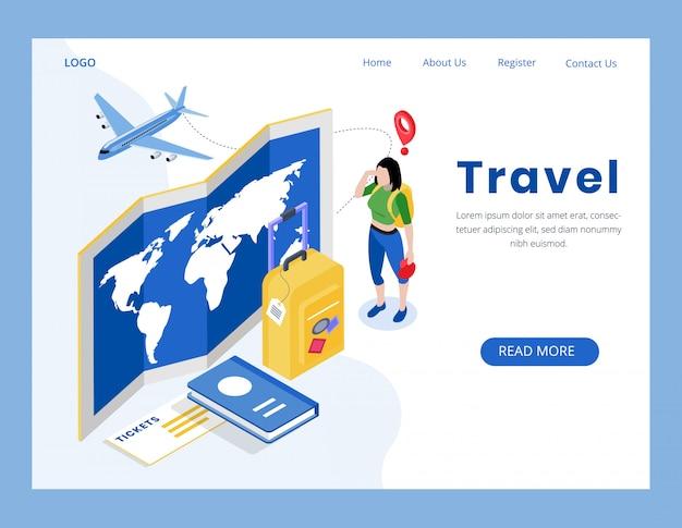 Página de destino do conceito de viagens isométrica