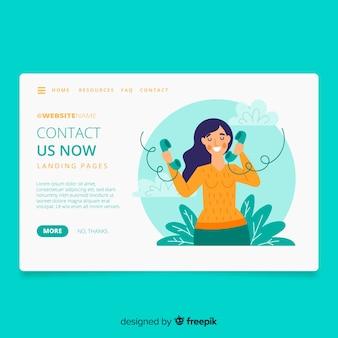 Página de destino do conceito entre em contato