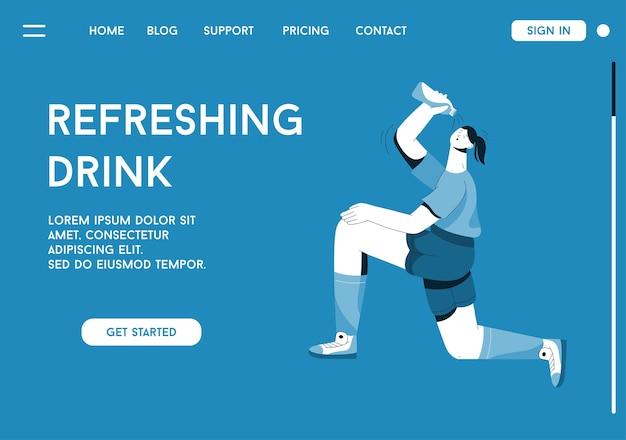 Página de destino do conceito refreshing drink