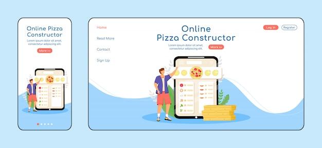 Página de destino do construtor de pizza