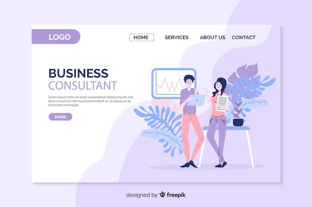 Página de destino do consultor de negócios