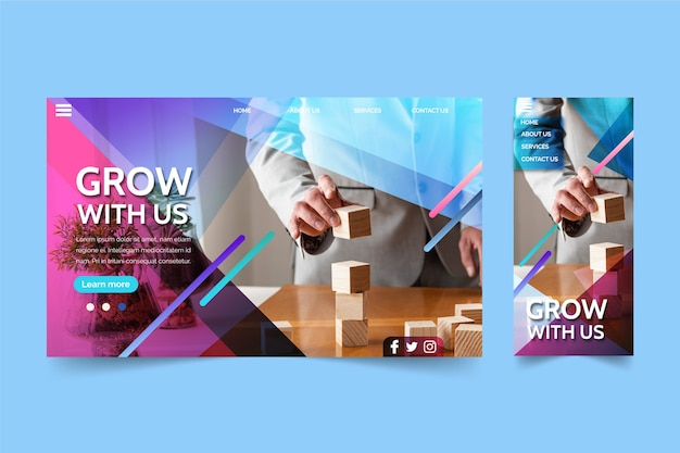 Página de destino do crescimento dos negócios
