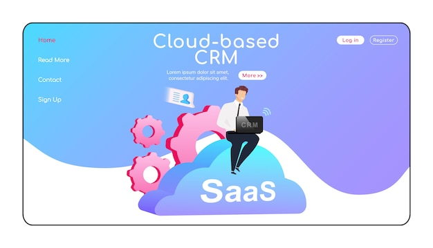 Página de destino do crm baseado em nuvem