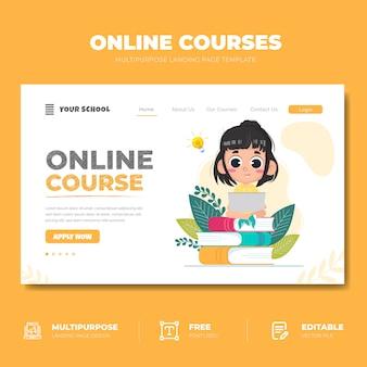 Página de destino do curso on-line de educação