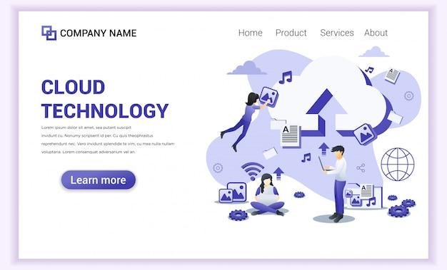 Página de destino do data center de tecnologia em nuvem