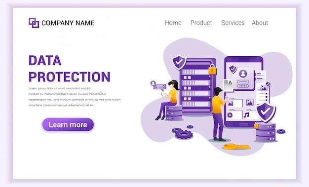 Página de destino do data protection