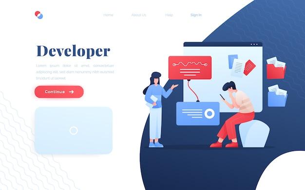 Página de destino do desenvolvedor de aplicativos modernos