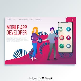 Página de destino do desenvolvedor de aplicativos para dispositivos móveis
