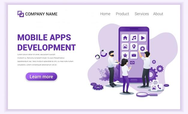 Página de destino do desenvolvimento de aplicativos para dispositivos móveis