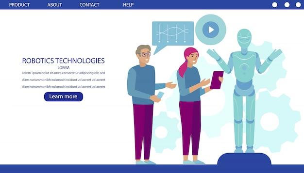 Página de destino do desenvolvimento de tecnologias robóticas