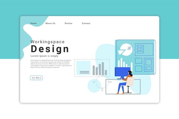 Página de destino do design do espaço de trabalho