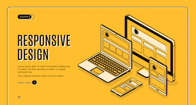 Página de destino do design responsivo, construção da página
