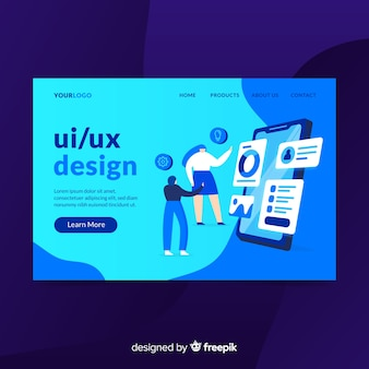 Página de destino do design ui / ux