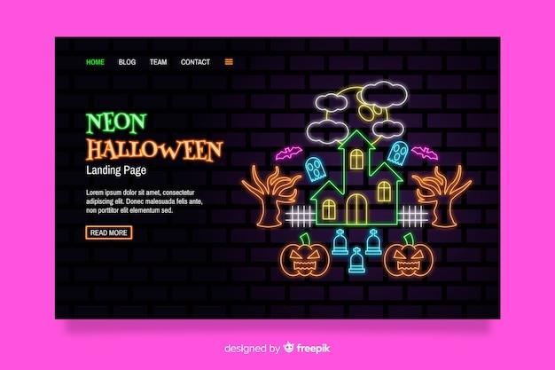 Página de destino do dia das bruxas de néon