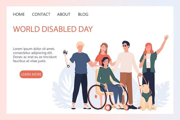 Página de destino do dia mundial de deficientes físicos ou banner da web. pessoas com próteses e cadeiras de rodas, surdos-mudos e cegos acompanhados de cães. .