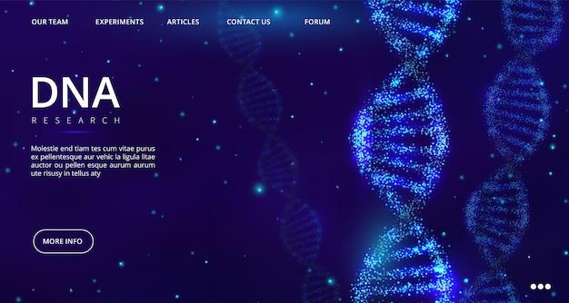 Página de destino do dna. modelo de página da web de engenharia genética. ilustração de dna de pesquisa médica, engenharia genética