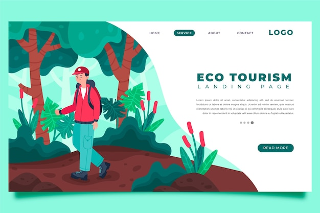 Página de destino do ecoturismo com homem ilustrado