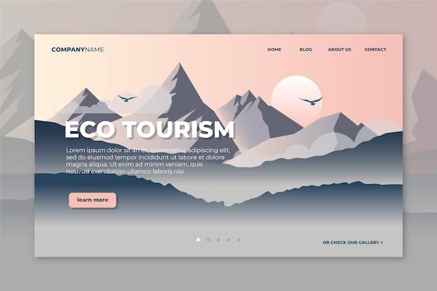 Página de destino do ecoturismo com montanhas