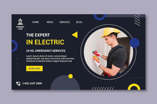 Página de destino do eletricista
