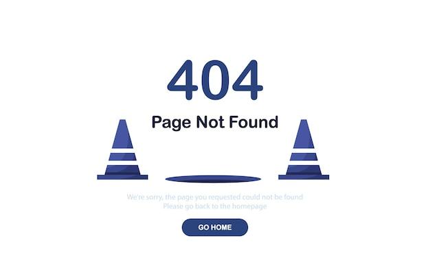 Página de destino do erro 404 com cones de estrada em design plano
