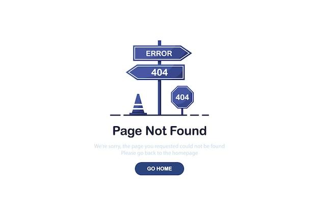 Página de destino do erro 404 com sinalização rodoviária em design plano