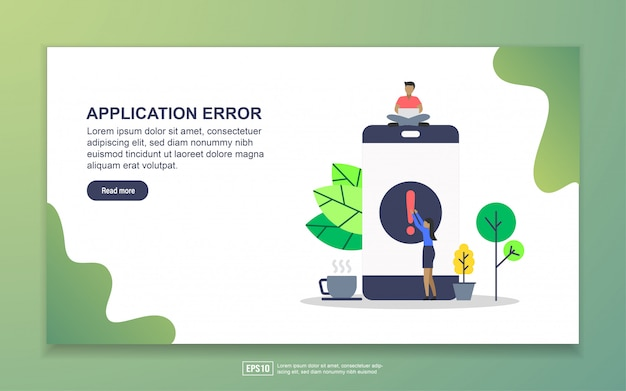 Página de destino do erro de aplicação