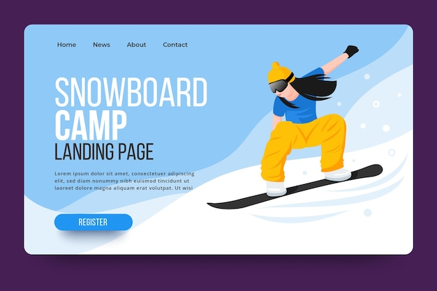 Página de destino do esporte ao ar livre com snowboarder ilustrado