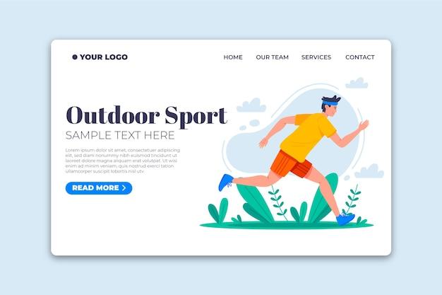 Página de destino do esporte ao ar livre de modelo de design plano