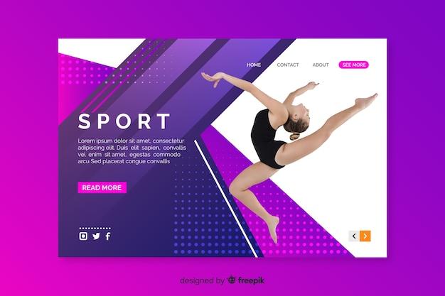 Página de destino do esporte com dançarina de balé