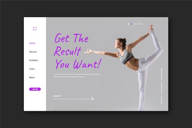 Página de destino do esporte com foto de mulher exercitando