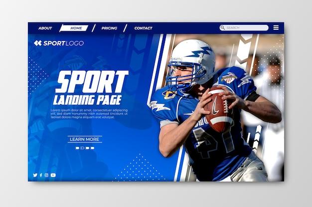 Página de destino do esporte com foto