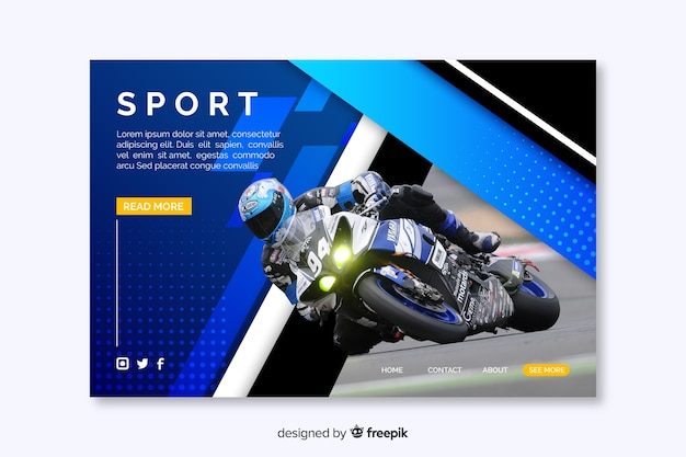 Página de destino do esporte com homem na moto