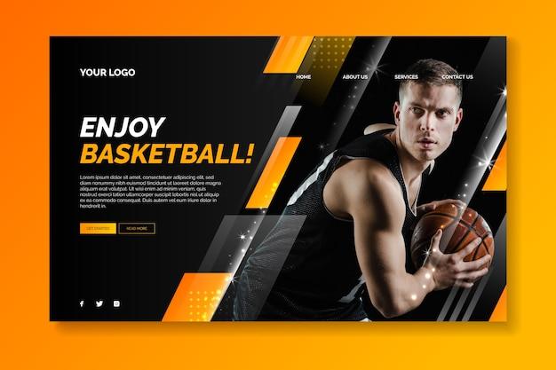 Página de destino do esporte com imagem