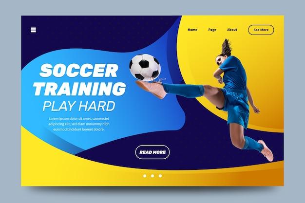 Página de destino do esporte com modelo de imagem