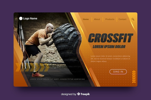 Página de destino do esporte crossfit