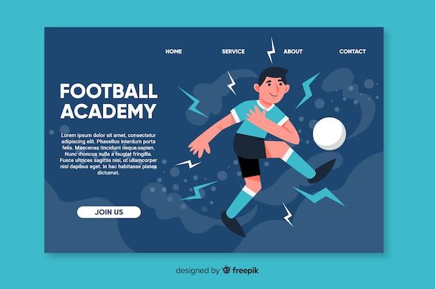 Página de destino do esporte da academia de futebol