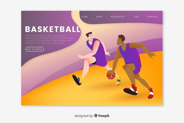 Página de destino do esporte de basquete