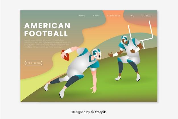 Página de destino do esporte de futebol americano