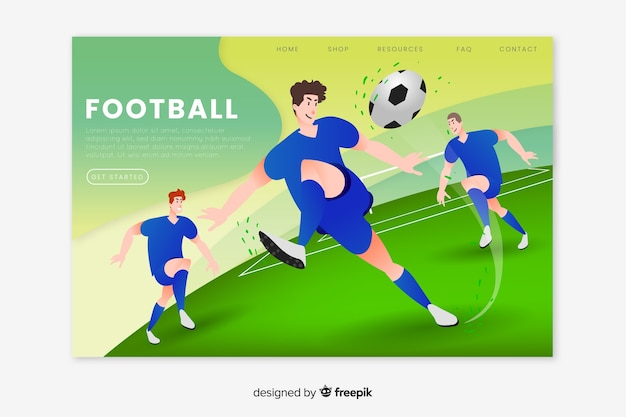 Página de destino do esporte de futebol