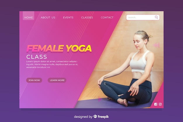 Página de destino do esporte de ioga feminina