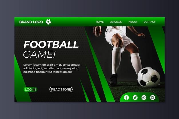 Página de destino do esporte de modelo com imagem