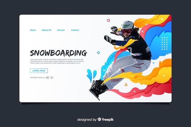 Página de destino do esporte de snowboard