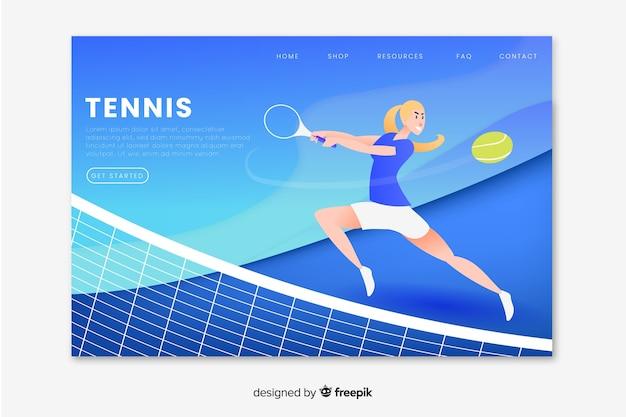 Página de destino do esporte de tênis