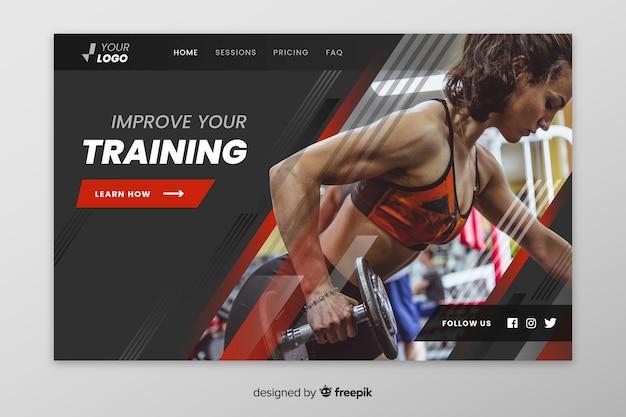 Página de destino do esporte de treinamento