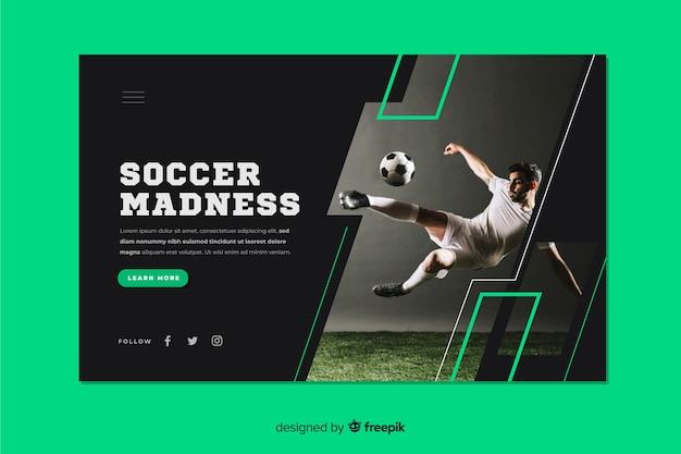Página de destino do esporte loucura de futebol